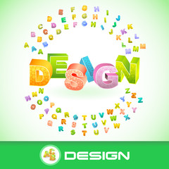 DESIGN. Colored 3d alphabet. Vector illustration.