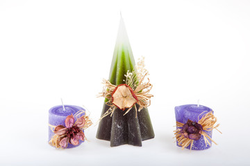 Three decorated candle (handmade) - 2