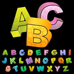ABC. Colored 3d alphabet. Vector set.