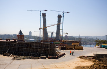 Construction of cable-stayed bridge.Vladivostok.Russia.