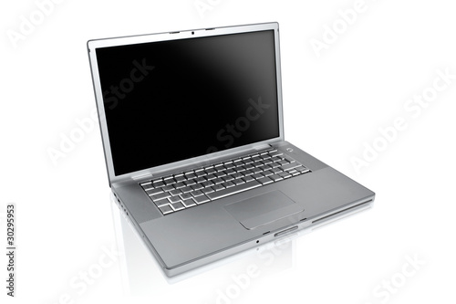 a silver laptop on a white background