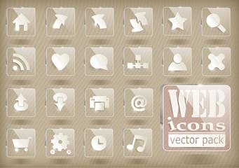 glossy transparent web icons