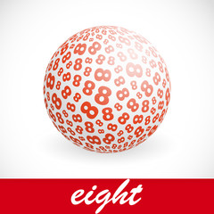 EIGHT. Globe with number mix. Vector illustration.