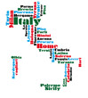 abstract word cloud map of Italy