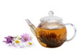 Teapot and cup of tea with a floral on a white background