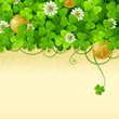 St. Patrick's Day frame with clover and golden coin 2