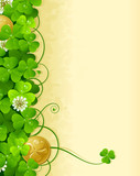 St. Patrick's Day frame with clover and golden coin 3
