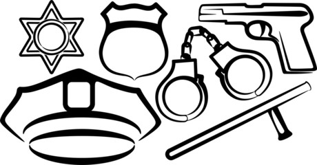 simple illustration with a set of police items