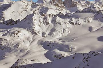 ski tracks across a mountain landscape