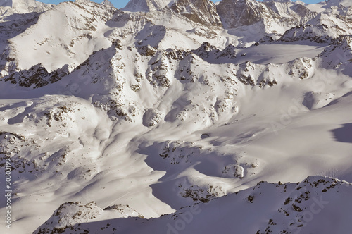 ski tracks across a mountain landscape