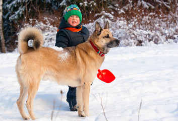 Dog and little boy in winter forest