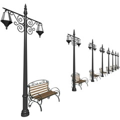 Row of lanterns and benches for municipal streets. 3d render