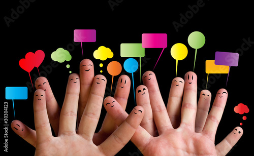 Happy group of finger smileys 2