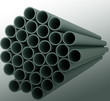 Metal pipes on white background. Isolated 3D image