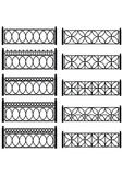 Set of vector black forged metal lattices of fence