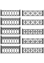 Zestaw wektora czarnych Kraty kute metalowe ogrodzenie