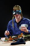 Crazy genius witth soldering iron poster