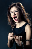 woman anger face poster