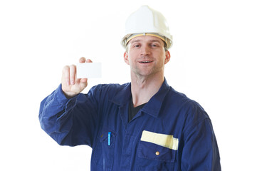 Builder man in blue robe with visit card