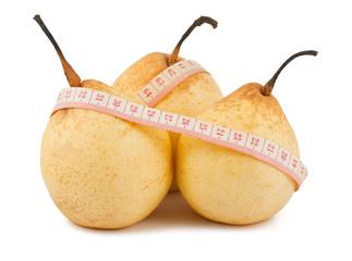 Ripe pears and measure tape