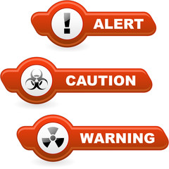 Warning vector banner. Vector template.