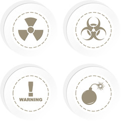 Warning vector label set.