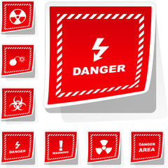 Warning vector label. Vector templates.