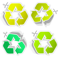 Recycle sticker set.