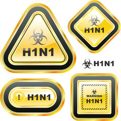 H1N1. Swine flu warning sign collection.