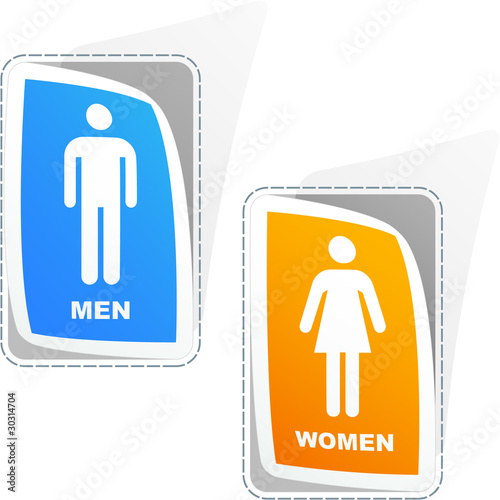 Men and women stickers. Vector illustration.