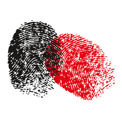 Fingerprint vector red black illustration vector