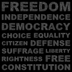 FREEDOM. Vector word collection. Wordcloud illustration.