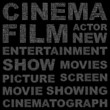 CINEMA. Vector word collection. Wordcloud illustration.