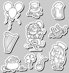 Set of Black and White st. Patric day icons