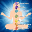 Woman in lotus position, seven chakras. EPS 8