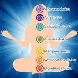 Woman in lotus position, seven chakras. EPS 8 poster