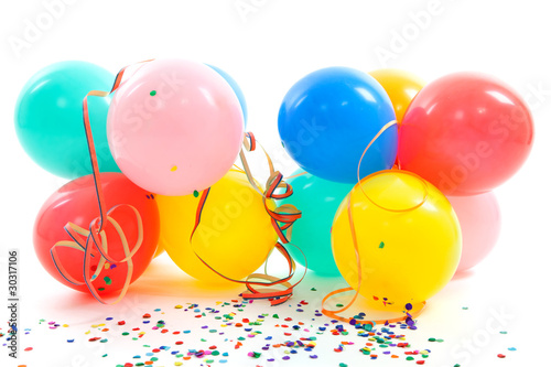 colorful balloons, party streamers and confetti