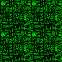 MEDIA. Seamless vector background. Wordcloud illustration.