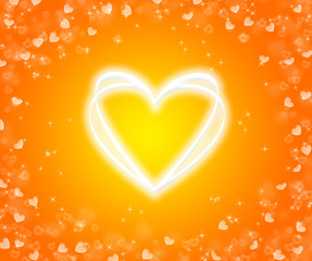Shone heart on a yellow background.
