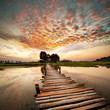 Leinwandbild Motiv River on sunset