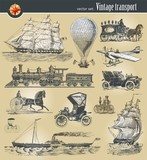 Vector set of vintage historical transport