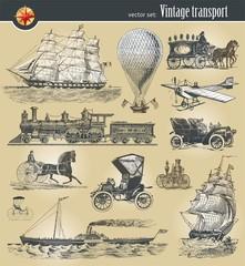 Vector set of vintage historical transport