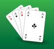 Spielkarten herz, karo, pik, kreuz As grün