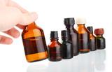 Hand holding bottle.Medicament medicine poster