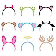 Collection of cute and sweet costume headbands for carnival