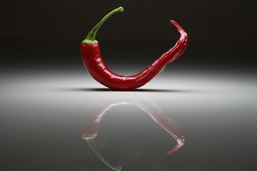 Red hot chili with reflections