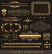 Vector set of golden ornate page decor elements on wooden wall