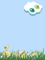 Spring easter landscape with eggs and bird. Grass is seamless.