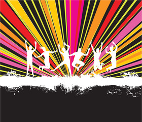 people jumping on an abstract splash background