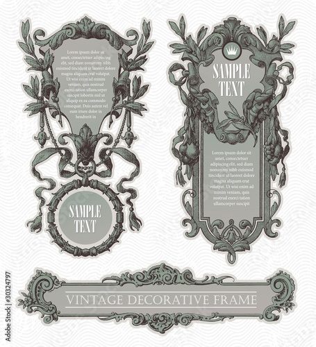 Vintage engraved decorative ornate vector frames